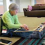 lee-ann weaving in Weaving a Life class at Kripalu